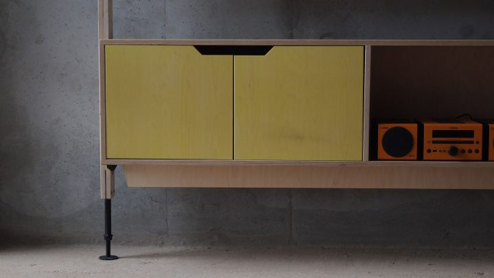RAW Studios plywood furniture systems living space storage cupboard -