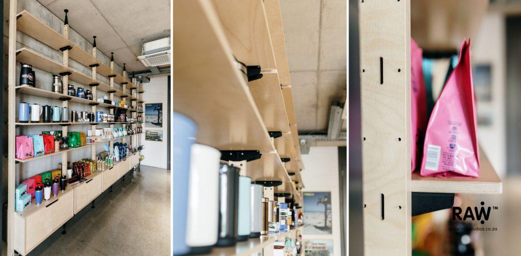 Tribeca workspaces - Stilts - functional plywood shelving furniture