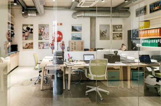 Tribeca Central workspaces - functional plywood workstations, storage and shelving furniture